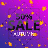 Watercolor autumn foliage vector sale banner Royalty Free Stock Photo