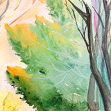Watercolor autumn nature tree park wood background texture Stock Photography