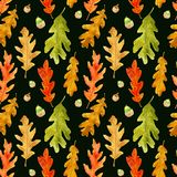 Watercolor autumn oak leaves seamless pattern on black royalty free illustration
