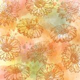 Watercolor autumn pastel background with daisies. Vector format royalty free illustration