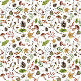 Watercolor autumn pattern. Hand painted mushroom, rowan, fall leaves, tree branch, pine cone, berry and acorn  Stock Image