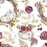 Watercolor autumn pumpkin seamless pattern. Fall print with pumpkins, flowers and leaves on white background