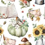 Watercolor autumn seamless pattern with birds, books, pumpkins, mushrooms, sunflowers and envelopes. Hand painted plants