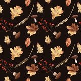 Watercolor autumn seamless pattern hand painted leaves thanksgiv. Ing holiday Stock Images