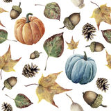 Watercolor autumn seamless pattern. Hand painted pine cone, acorn, berry, yellow and green fall leaves and pumpkin ornament isolat. Ed on white background Stock Image