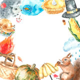 Watercolor autumn set. Watercolor autumn cartoon set. Hand drawn isolated illustration on white background Royalty Free Stock Images