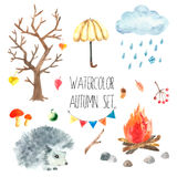 Watercolor autumn set. Royalty Free Stock Photography