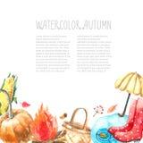 Watercolor autumn set. Royalty Free Stock Photos