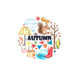 Watercolor autumn set. Watercolor autumn cartoon set. Hand drawn isolated illustration on white background Royalty Free Stock Photos