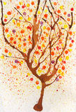 Watercolor  autumn tree Stock Image