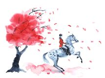 Watercolor autumn tree with red leaves and rider and on dapple grey rearing up. Hand drawing leaf fall and rider girl. England equestrian sport illustration Royalty Free Stock Image