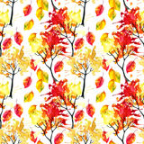 Watercolor autumn trees and leaves seamless pattern Royalty Free Stock Image