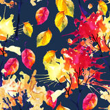 Watercolor autumn trees and leaves seamless pattern Stock Image