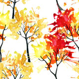 Watercolor autumn trees seamless pattern Royalty Free Stock Photography
