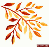 Watercolor autumn twig Royalty Free Stock Photo