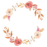 Watercolor Autumn Vintage Wreath Garland Frame Fall Leaves Circle Flowers Berry Leaf Royalty Free Stock Photo
