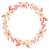 Watercolor Autumn Wreath Garland Frame Fall Leaves Circle Flowers Berry Leaf Royalty Free Stock Photo