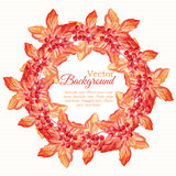 Watercolor autumn wreath with leaves and berries Stock Photography