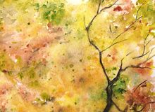 Watercolor autumn yellow orange green tree leaf foliage branch texture background