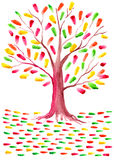 Watercolor autumn yellow orange red green tree foliage Royalty Free Stock Images