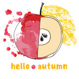 Watercolor autumnal abstract background with apple, hello autumn. Decorative red watercolor apple, autumnal abstract background, hello autumn royalty free illustration