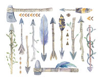 Watercolor aztec boto arrows set with Hand Painted Leaves and Royalty Free Stock Photos