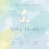 Watercolor baby boy shower card with retro toy Stock Photo