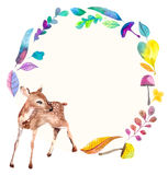 Watercolor baby deer with floral elements Royalty Free Stock Images