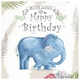 Watercolor baby elephant and mother. Cute Elephants for greeting card, birthday, invite, painting clip art on floral background. Watercolor baby elephant and vector illustration