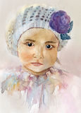 Watercolor Baby girl portrait. Baby girl portrait, watercolor hand-drawing picture Royalty Free Stock Photos