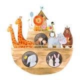 Watercolor baby Noah s Ark. Beautiful baby illustration with watercolor noah`s ark with cute animals Royalty Free Stock Images
