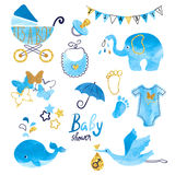 Watercolor Baby Shower boy set. Collection of vector design elements vector illustration