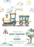 Watercolor baby shower with cute cartoon train sideways on rails with railway sign and tree