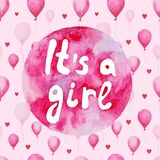 Watercolor baby shower illustration. Its a girl theme. For design, print or background stock illustration