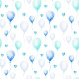 Watercolor baby shower pattern. Blue balloons on the white background. For design, print or background royalty free illustration
