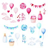 Watercolor baby shower set. Its a boy or girl theme with balloons, baby clothes and cupcake. For design, print or background.  Royalty Free Stock Photo