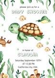 Watercolor baby shower with underwater creatures, sea turtle, fish, algae