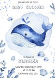 Watercolor baby shower with underwater creatures, whale, fish, algae