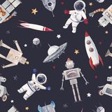 Watercolor baby space vector pattern. Beautiful vector seamless baby pattern with cute retro robots astronaut spaceman spaceship rocket stock illustration
