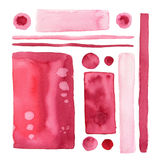 Watercolor backdrops set. Hand paint shapes and element in marsala color.  Stock Photo