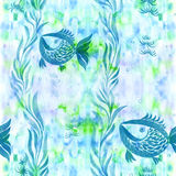 Fish, algae, vesicles - decorative composition. Watercolor. Seamless pattern. Use printed materials, signs, items, websites, maps, Royalty Free Stock Images