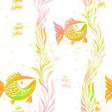 Fish, algae, vesicles - decorative composition. Watercolor. Seamless pattern. Use printed materials, signs, items, websites, maps, Royalty Free Stock Image