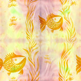 Fish, algae, vesicles - decorative composition. Watercolor. Seamless pattern. Use printed materials, signs, items, websites, maps, Royalty Free Stock Photo