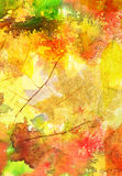 Watercolor background with autumn leaves Royalty Free Stock Photo