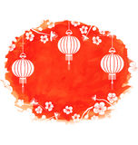 Watercolor Background with Blossom Sakura Flowers and Lanterns. Illustration Watercolor Background with Blossom Sakura Flowers and Lanterns - Vector Stock Photo