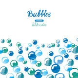 Watercolor background with blue bubbles. Place for your text Stock Photography
