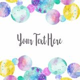Watercolor background border  of watercolor rounds. Illustration isolated on white background stock illustration