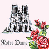 Watercolor background bouquet of roses and Notre Dame Stock Image