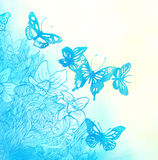 Watercolor background with butterflies and flowers Stock Photography