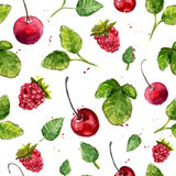 Watercolor background with cherry, raspberry and leaves. Seamless vector pattern. Royalty Free Stock Photos